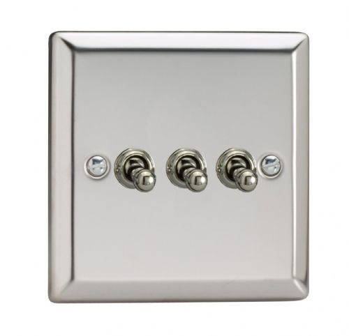 Varilight XCT3 Classic Mirror Chrome 3 Gang 10A 1 or 2 Way Toggle Light Switch